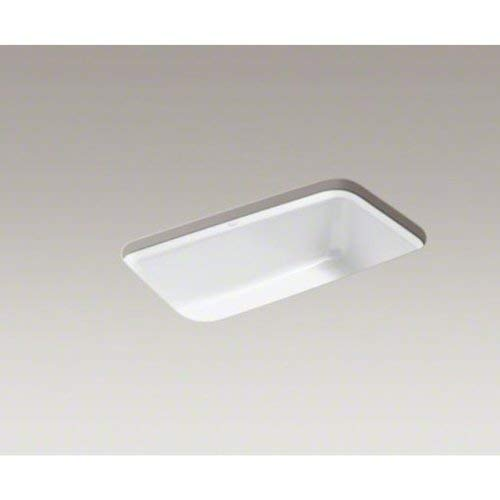 - Kohler K-5832-5U-0 Bakersfield Undercounter Sink with Installation Kit, White