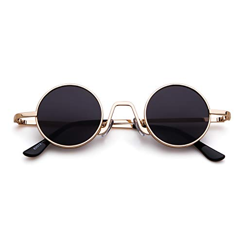 Gafas Street Style Redondo Mujeres metal Eyewear ovaladas Vintage con de Oro sol de 1 Gris Lente borde ADEWU fino Hombres Marco AwxdnA