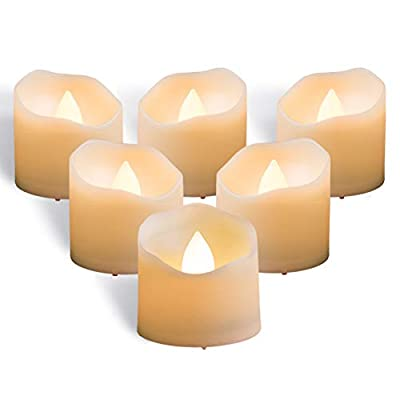 Homemory Timer Tea Lights Bulk, Set of 12 Warm White Flameless Candles, Flickering Battery Operated LED Tealights Candles, 1.57'' D x 1.37'' H, Ideal for Morrocan Lamps, Mason Jars, Pumpkin Lantern