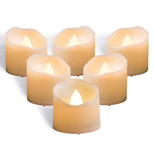Halloween Tea Light Jars (Homemory Timer Tea Lights Bulk, Lasts 2X Longer, Set of 12 Realistic Flameless Candles, Flickering Bright LED Tealights Candles, Warm White, 1.57'' D x 1.37'' H, Ideal for Valentine's Day)