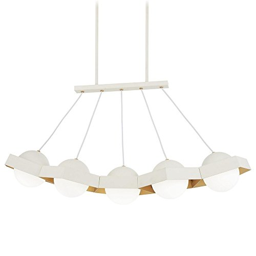 George Kovacs P1396-044G-L Five-O Chandelier, 5-Light LED 200 Total Watts, Textured White with Gold Leaf