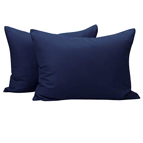 NTBAY Toddler Pillowcases Set, 2 Pcs Zipper Closure Travel Pillow Covers, 100% Silky Soft Microfiber, 13 x 18, Navy Blue