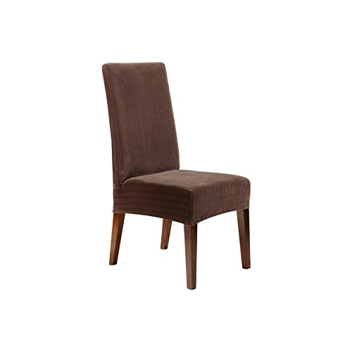 Sure Fit Stretch Pinstripe - Shorty Dining Room Chair Slipcover  - Chocolate (SF37404) (Dining Wholesale Room Chairs)