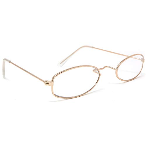 Skeleteen Old Man Costume Glasses - Gold Oval Granny Dress Up Eyeglasses - 1 Pair -