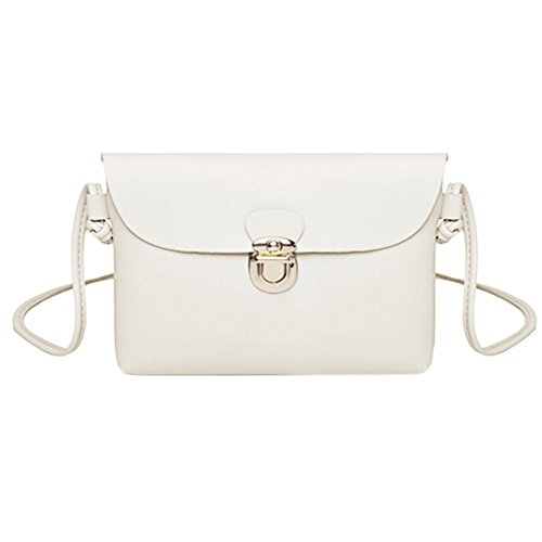 Widewing Simple Pure Women Messenger Handbags PU Leather Girls Casual Shoulder Bags White