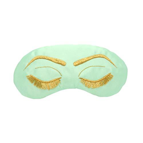Vintage Glam Eyelashes Sleep Mask in Matcha Mint and Gold