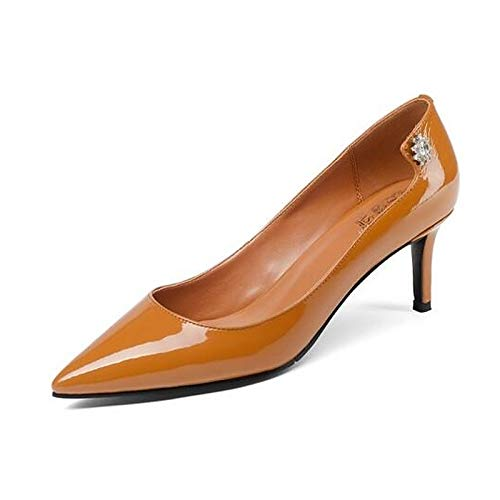 ZHZNVX Zapatos de Mujer Nappa Leather Spring Tacones con Bomba Básico Stiletto Heel Black/Brown Brown