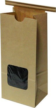 Kraft 1/2 Lb. Tin Tie Bakery Bag w/ Square Window - 50 Pack by Premium Tin Ties