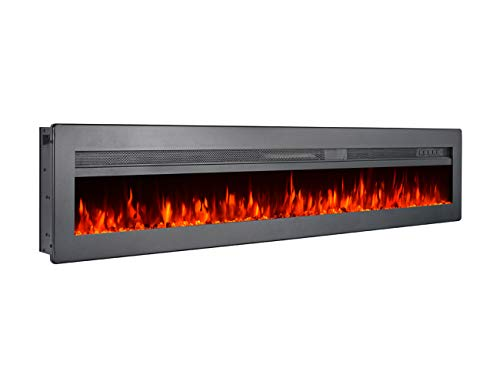 Cheap GMHome 60 Inches Wall Recessed Electric Fireplace 9 Changeable Color Realistic Crystal Stone Flame Heater with Remote 1500W Metal Panel - Black Black Friday & Cyber Monday 2019
