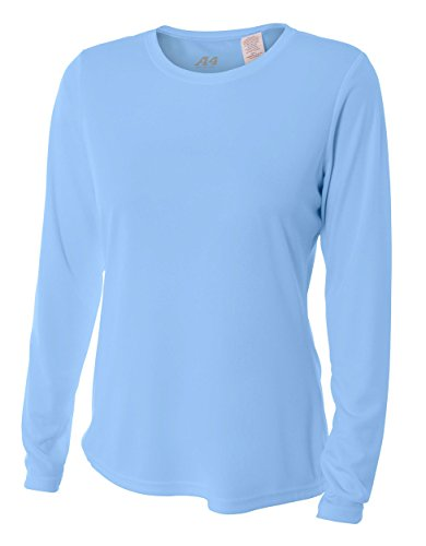 A4 Women's Cooling Performance Crew Long Sleeve T-Shirt, Light Blue, (Cool Womens Light T-shirt)