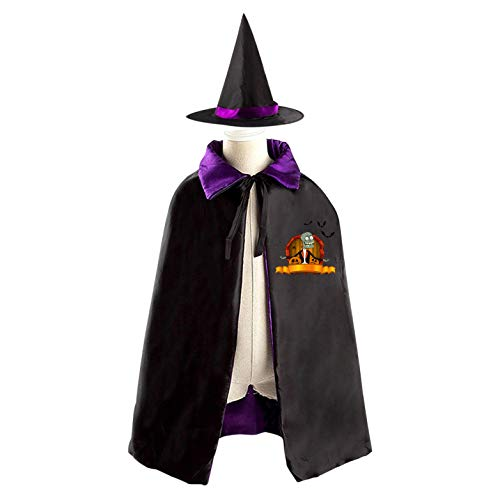 69PF-1 Halloween Cape Matching Witch Hat Funny Zombie Wizard Cloak Masquerade Cosplay Custume Robe Kids/Boy/Girl Gift -