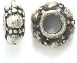 Shipwreck Beads Pewter Bali Style with Dots Bead, 8mm, Metallic, Silver, 10-Piece