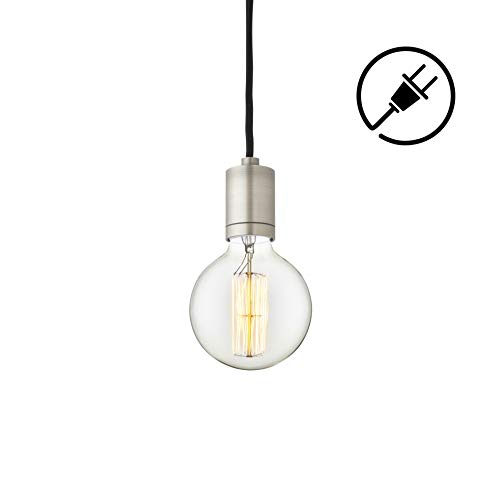 Plug-in Pendant Lighting with Edison Bulb - Brushed Nickel Hanging Fixture with Black Fabric Plugin Cord, Complete Swag Light Kit, Vintage-Style G40 Globe Bulb Included, ETL Listed