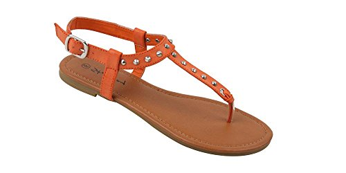 Womens Studded Gladiator Design (New Starbay Women's Studded Orange Gladiator Sandals Flats Size 9)