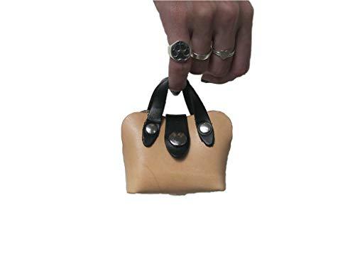 Leather Tote Dog - Mini Handbag Dog Waste Bag Holder in Tan Leather, Dog Poop Bag Holder, Handmade Dog Supplies