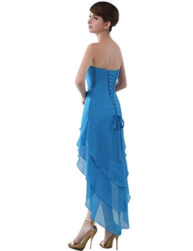 Sarahbridal Damen Asymmetrisch Perlen Kordelzug Chiffon V-Ausschnitt Abendkleider SSD001 Weiß EU40