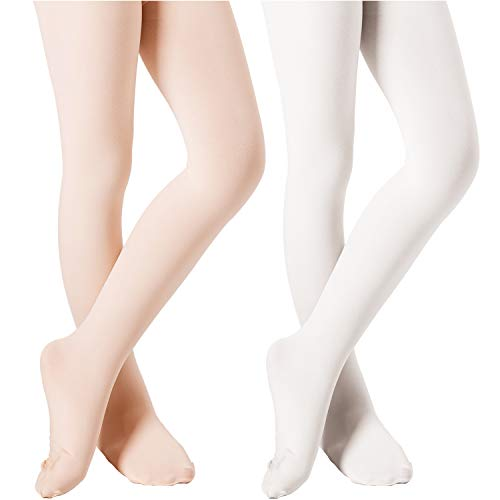 (DIPUG Ballet Tights for Girls Pro Ultra-soft  Durable Dance Footed Tights for Toddler (Ballet Pink + White, 5-10 Years))