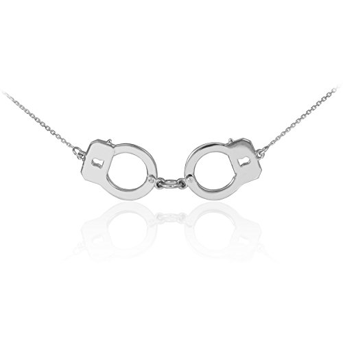 14k White Gold Handcuff Necklace (16 Inches)