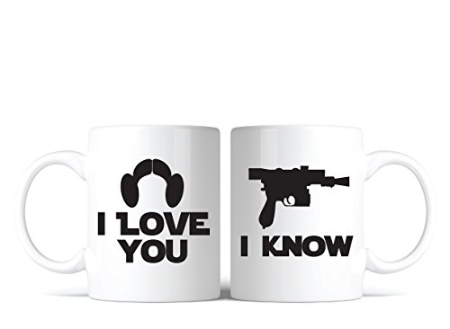 Star Wars Inspired I Love You, I Know Coffee Mug Set of 2 Great Gift for Fans Lovers by Bondi Boutique