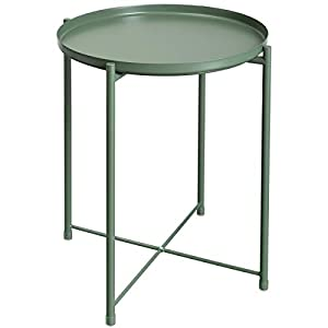 HollyHOME Tray Metal End Table, Sofa Table Small Round Side Tables, Anti-Rust and Waterproof Outdoor & Indoor Snack Table, Accent Coffee Table