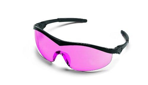 MCR Safety ST11V Storm Ratchet Bayonet Temple Single Lens Glasses with Black (Glasses Vermillion Lens)