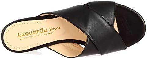 Leonardo Shoes Sandales Mules Ouvertes à la Main pour Femme en Cuir Napa Noir - Code modèle: 010 Nappa Nero - Taille: 36 EU