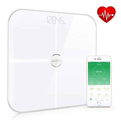 RENPHO Premium Smart Heart Rate Scale Body Analyzer Monitor with 15 Essential Body Composition Measurement, Bluetooth Body Fat Scales Digital Weight BMI Health Scale with App, 396 lbs White