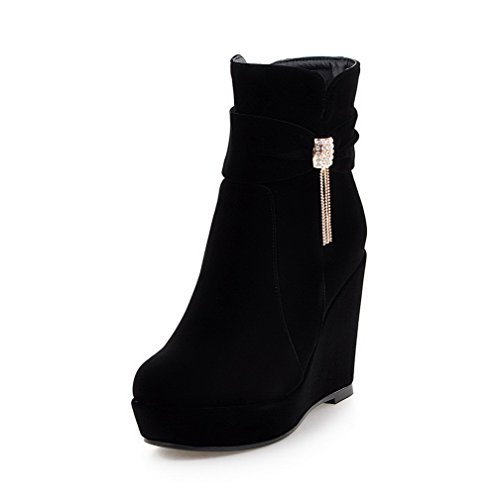 AllhqFashion Women's Solid High-Heels Round Closed Toe Flock Zipper Boots, Black, - Prada Factory Store