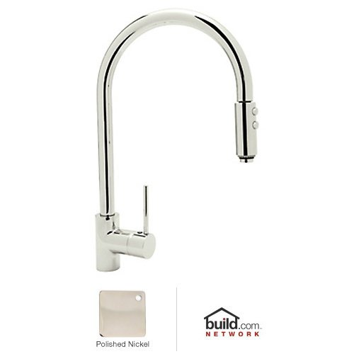 Rohl LS57L-PN-2 Modern Kitchen Faucet with Pull Down Spray and Metal Lever Handle, Polished Nickel by Rohl