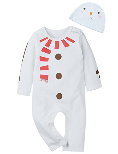 Newborn Costumes 0-3 Months (Truly One 2PCS Baby Boys Girls Snowman Costume Outfit Set Romper Hat (0-3 Months, White))