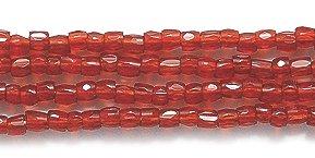 (Preciosa Ornela Czech 3-Cut Style Seed Glass Bead, Size 9/0, Transparent Garnet)