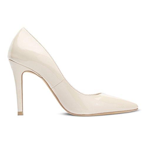Eunicer Womens Fashion Pointed Toe Pumps High Heel Stilettos Sexy Slip On Dress Pump Beige VyHuVp