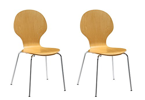 Novogratz Shell Bentwood Chair with Silver Chrome Rounded Legs, Set of 2, Natural Contemporary Round Upholstered Chair