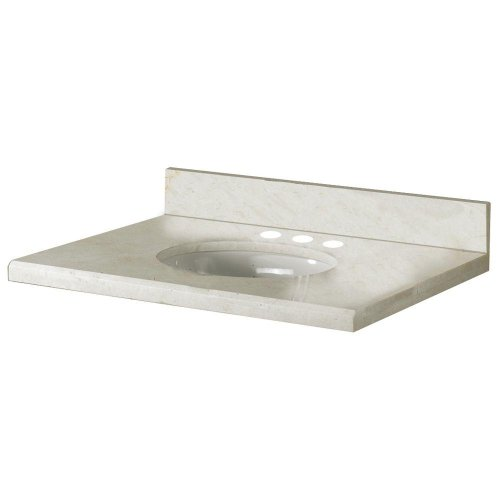 - Pegasus 25998 25-Inch Marble Vanity Top in Crema Marfil with White Basin