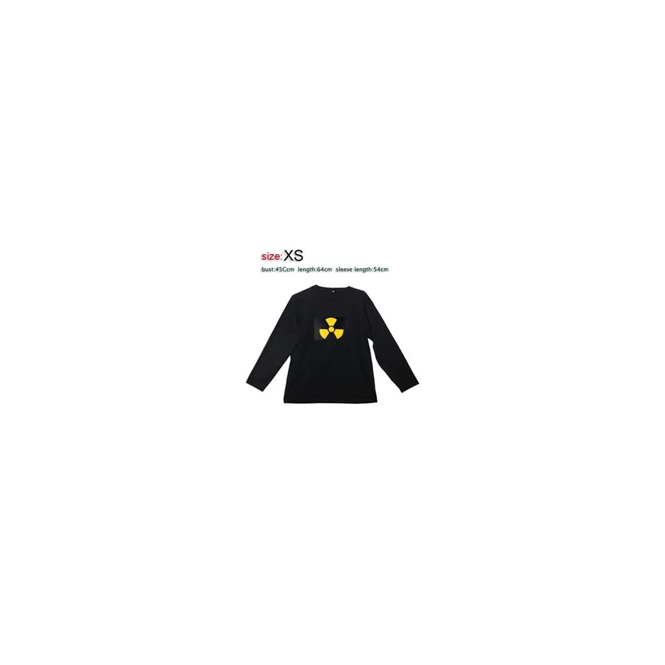 131 Fashion and Cool Fan Pattern Sound activated LED EL Long sleeved T Shirt XS (Black) + Worldwide free shiping