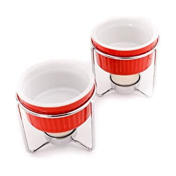 Crabaholik 2-Piece Ceramic Butter Warmers Set   Premium Quality Red Ceramic Fondue Warmers Pots   Melted Butter Melters with Sturdy Metallic Stands   Dishwasher Safe ● Elegant ● Original Gift Idea