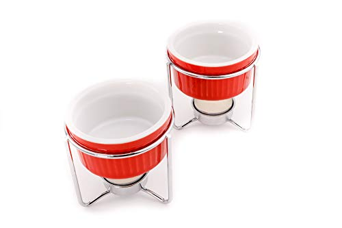 Butter Warmer Set - Crabaholik 2-Piece Ceramic Butter Warmer Set - Premium Quality Red Ceramic Fondue Warmers - Butter Melters with Sturdy Metallic Stands - Dishwasher Safe - Elegant Design - Original Gift Idea