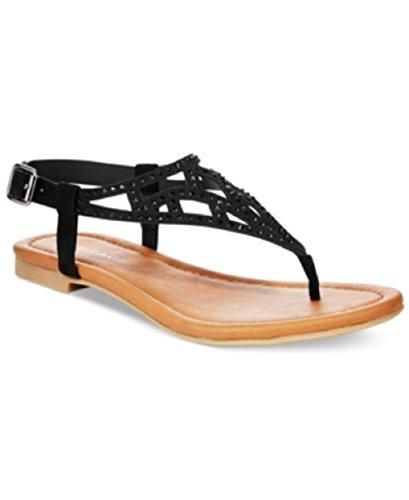 Rampage Womens Pattie Black T-Strap Flat Sandals 11 M