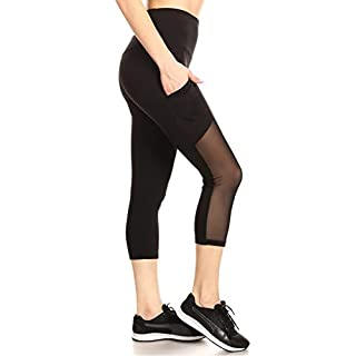 ShoSho Womens High Waist Sports Capris Yoga Tummy Control Leggings Activewear Stretch Bottoms Cropped Athletic Pants with Side Mesh & Phone Pockets Black Medium