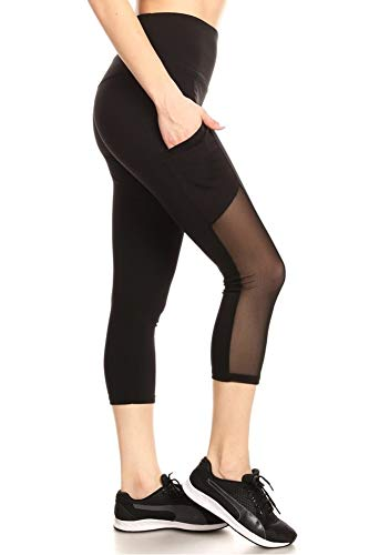 ShoSho Womens High Waist Sports Capris Yoga Tummy Control Leggings Activewear Stretch Bottoms Cropped Athletic Pants with Side Mesh & Phone Pockets Black Large