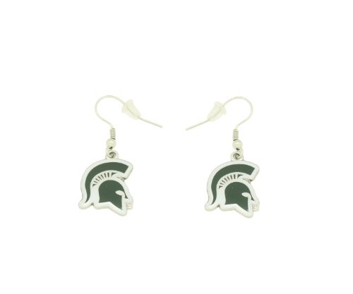 Michigan State Spartans Earrings - aminco NCAA Dangler Earrings, Michigan State Spartans