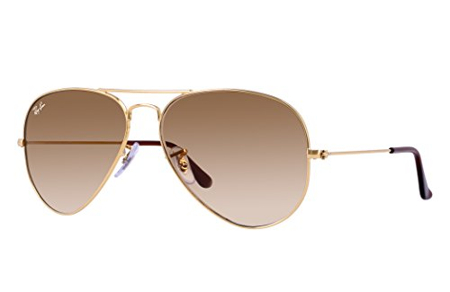 Ray-Ban RB3025 Aviator Sunglasses (58 mm, Gold Metal Frame/Light Brown Gradient Lens)