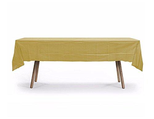 10 Pack Rectangular Table Cover,Premium Plastic Tablecloth, Plastic Table Cover Reusable (Gold) -
