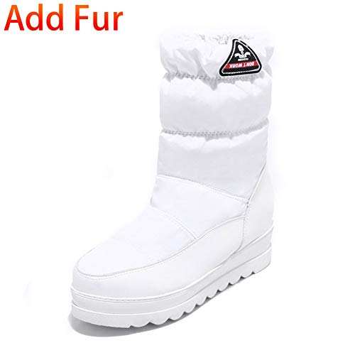 Down Flat Boots Toe Winter Fashion Round Kaloosh Metallic Rhinestone Warm Low Decoration Women's Waterproof Lined Heel 9white Snow Fur vIv6qBx