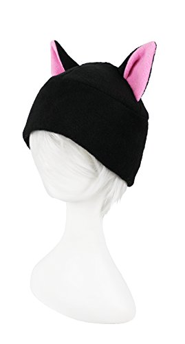 965d5e52 Beanie-style Black Cat Hat with Pink Inner Ears Super Cute Anime Style  Adult Sized