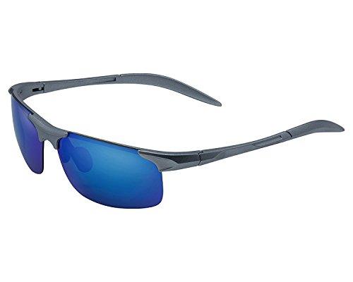 Yidarton Men's Sports Style Polarized Sunglasses Outdoor Glasses Unbreakable Frame (Silver, - Frame Sunglasses Unbreakable