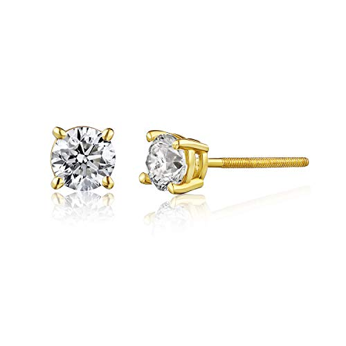 AGS Certified 1/2 Cttw Brilliant-Cut Diamond Classic 4-Prong Screw Back Stud Earrings (Color J-K, Clarity I2), 14K Yellow Gold