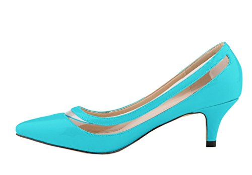 Katypeny Womens Elegant Pure Color Shallow Mouth Slip On Pointed Toe Kitten Heel Pump Shoes Sky Blue