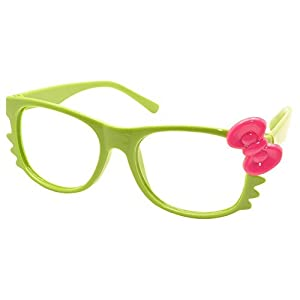 FancyG Cute Nerd Glass Frame with Bow Tie Cat Eyes Whiskers Eyewear for Kids 3-12 NO LENS - Green with Hot Pink Bow