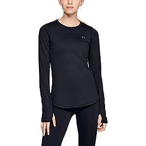 Best Epic Trends 31xlR3EUzyL._SS300_ Under Armour Women's ColdGear Armour Compression Crew Long-Sleeve T-Shirt , Black (001)/Metallic Silver , Medium